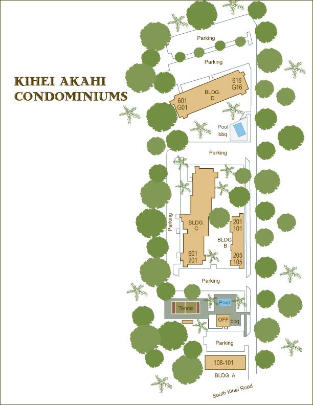 Kihei Akahi condo information grounds maps amenities